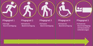 Die 5 Pflegerade unterschieden sich in der Höhe der finanziellen Zuwendung und Sachleistungen.